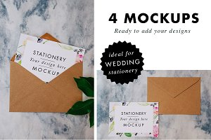 Wedding invitation & envelope Mockup