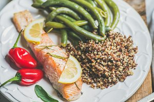 Roasted salmon with quinoa
