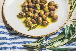 Green Mediterranean olives