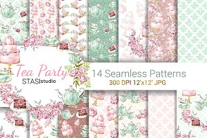 Watercolor Tea Party Patterns