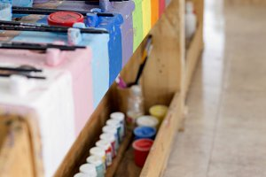 Details of an art room for children