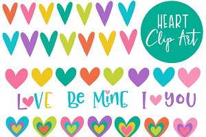 Colorful Heart Clip Art Set