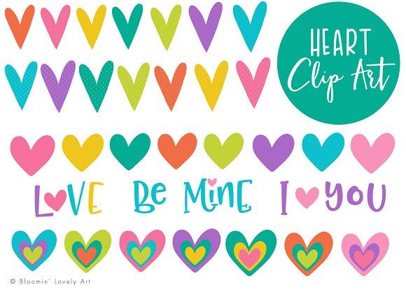 Colorful Heart Clip Art Set