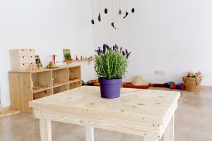 Homemade table in a learning space