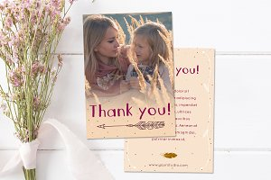 Boho - Thank You Card Template