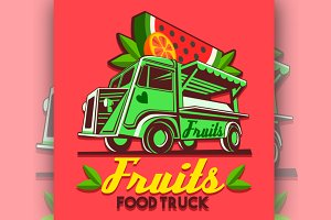 Food Truck Fruit Stand Vector Logo