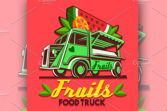 Food Truck Fruit Stand Vector Logo