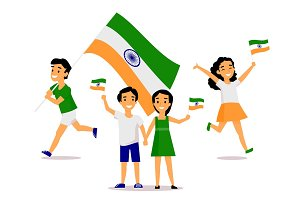 Indian people holding and waving tricolor flags