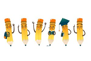 Set of happy cartoon pencils, vector illustration