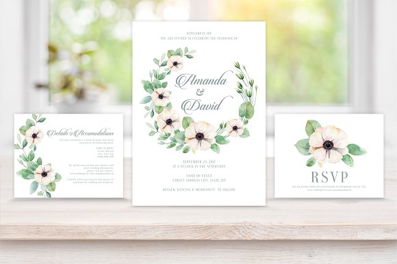 Floral Wreath Wedding Invite Package