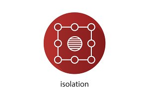 Isolation symbol flat linear long shadow icon