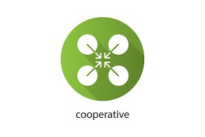 Cooperative symbol flat design long shadow glyph icon