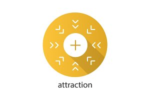 Attraction symbol flat design long shadow glyph icon