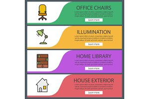 Furniture web banner templates set