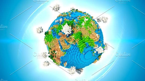 Stylized Earth Illustration 3D Rendering