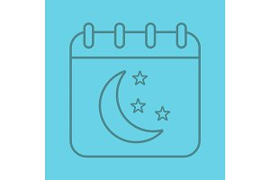 Night calendar color linear icon