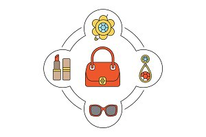 Woman's handbag contents color icons set