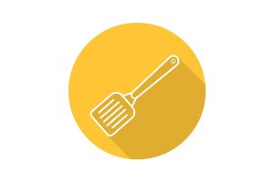 Spatula flat linear long shadow icon
