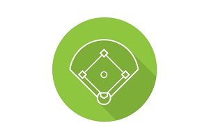 Baseball field flat linear long shadow icon