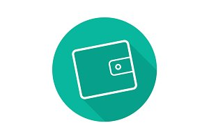Wallet flat linear long shadow icon