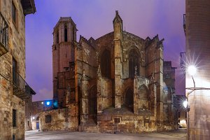 Barcelona Cathedral at night, Spain