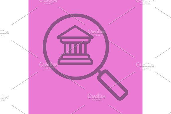 Bank Search Color Linear Icon