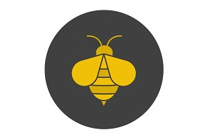 Honey bee glyph color icon