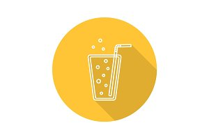 Lemonade flat linear long shadow icon
