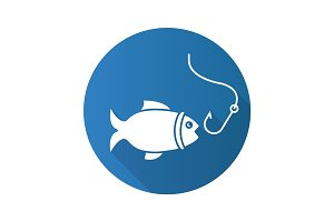 Fishing flat design long shadow glyph icon