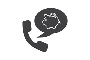 Bank phone call glyph icon