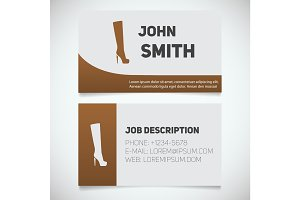 Business card print template with high boot logo