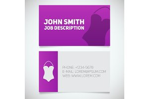 Business card print template with swimsuit logo