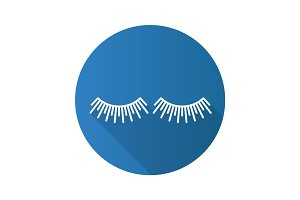 Eyelashes extension flat linear long shadow icon