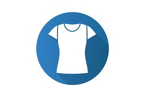 Women's t-shirt flat design long shadow glyph icon