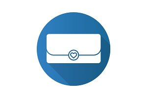 Clutch bag flat design long shadow glyph icon