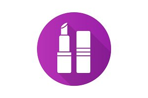 Lipstick flat design long shadow glyph icon