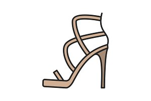 High heel shoe color icon
