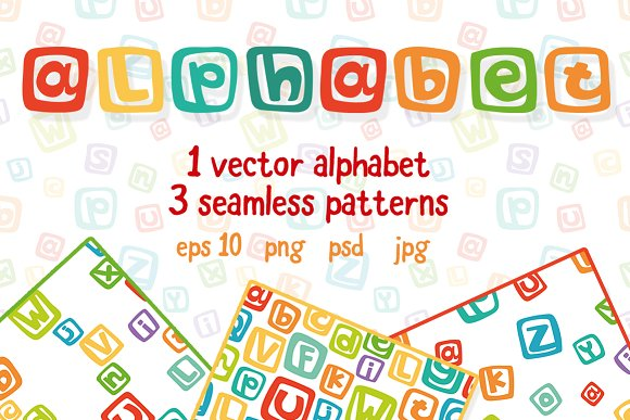 Vector Funny Alphabet And Patterns