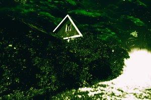 Horizontal weird vibrant green vintage zombie house film scan po