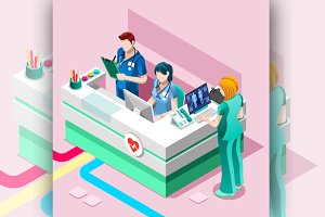 Hospital Nurse Station Isometric