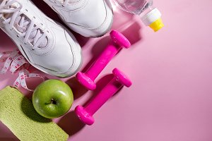 Sport Activity Concept Flat Lay Pink