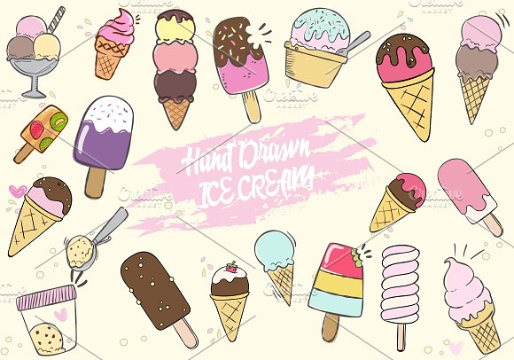 Hand Drawn Cute Ice Cream Set