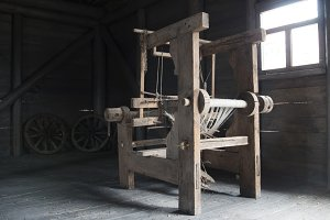 Old age wooden loom machine - manually operated mill machinery
