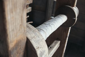 Detail of vintage wooden loom - historical reconstruction