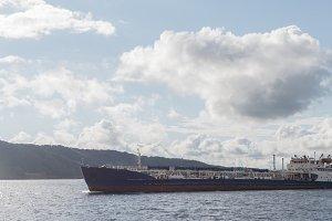 Tanker ship on the volga river