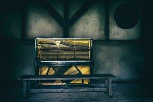 Horizontal vintage piano saloon wild west decoration background
