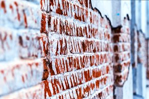 Destroyed brick wall perspective