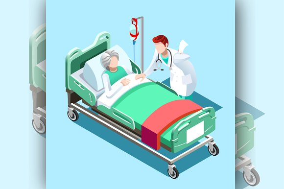 Medical Patient Bed Vector Image