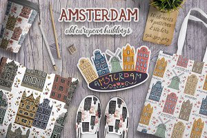 Amsterdam buildings set