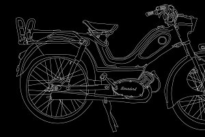 Oldtimer moped Berini vector drawing